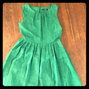 Emerald green fit and flare dress